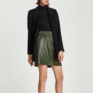 Zara Knit Vegan Leather Dark Green Skirt